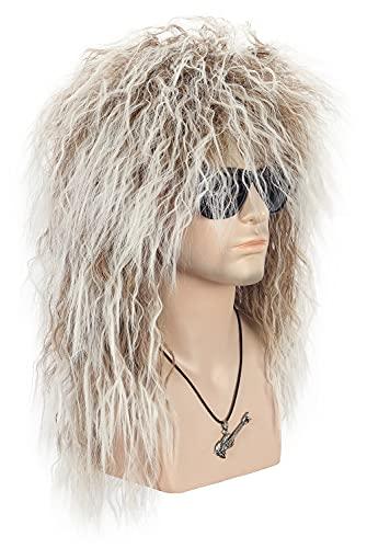 VGbeaty Men Women Long Curly Brown Gradient White 70s 80s Rocker Mullet Wig Halloween Costume Cosplay Wig