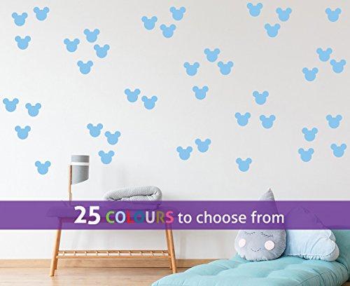TopZog Set, pak van 40 MICKEY MOUSE oren muur kunst sticker decal, voor baby jongens, meisjes kinderdagverblijf, kinderen slaapkamer, laptop, PASTEL BLUE, 1,5 inch breed (3,8 cm) elk