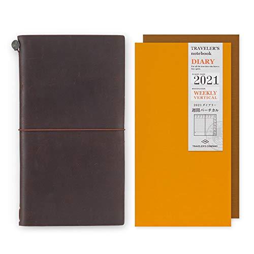 トラベラーズノート 手帳 2021年 レギュラーサイズ バーチカル 限定 カード付 茶 13715-21V (2021年1月始まり)