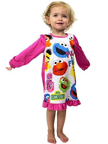 Sesame Street Toddler Girls Long Sleeve Nightgown Pajamas (2T, Pink/White)