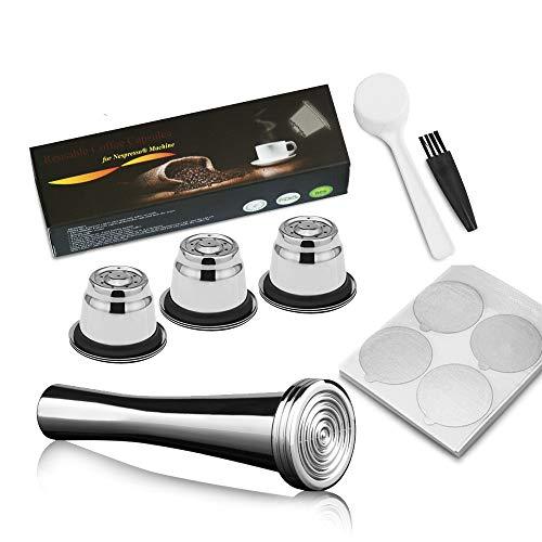 i Cafilas Kaffeepad-Set für Nespresso Kaffeemaschine aus Edelstahl + 3 x Nespresso-Kapseln nachfüllbar Edelstahl + 100 x Deckel aus Aluminium + Messlöffel + Reinigungsbürste