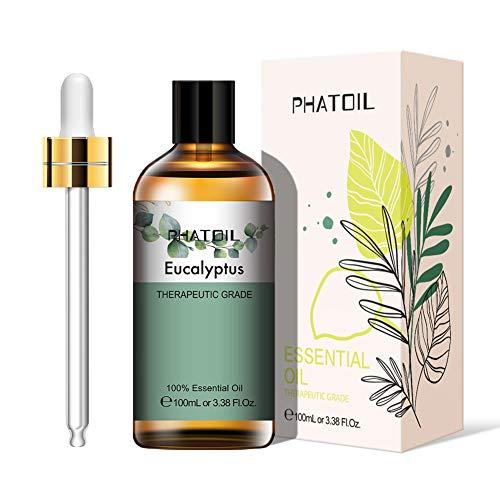 PHATOIL Aceites Esenciale de Eucalipto 100 ml, 100% Naturales Puros, Aceite Esencial de Aromaterapia de Grado Terapéutico, Aceite Esenciales para Humidificador, Difusor, Regalos Perfectos