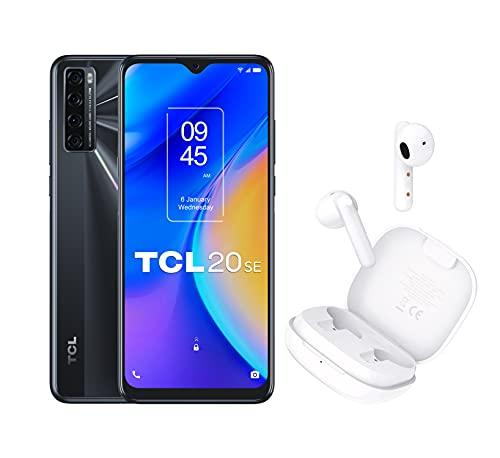 """TCL 20 SE - Smartphone de 6.82"""" HD+ con NXTVISION + MOVEAUDIO S150 Auriculares inalámbricos (Bluetooth 5.0, Carga rápida, Estuche de Carga extrafino, hasta 3.5 Horas de Escucha, táctil) Blanco"""