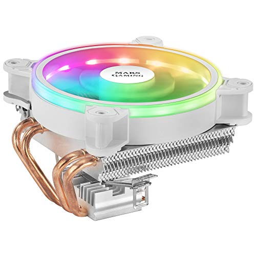 MARSGAMING MCPU220W, Disipador CPU Blanco, TDP 140W, Dual ARGB, Silencioso PWM