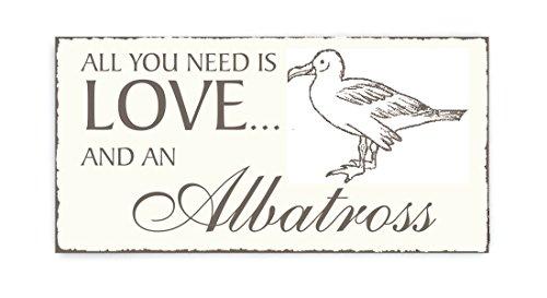 SCHILD Dekoschild « All you need is LOVE and an ALBATROSS » Vogel Vintage houten schild deurschild Ornithologe