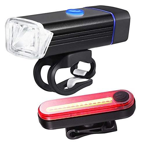 USB-oplaad-fietslampenset volgens de Duitse bergverordening fietsen nachts achterlichten dode vlinderdas zwart wzmdd