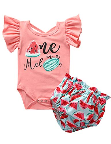Baby Girls One Year Old Birthday Bodysuit Summer Watermelon Shorts Outfit Set (Pink,18-24 Months)