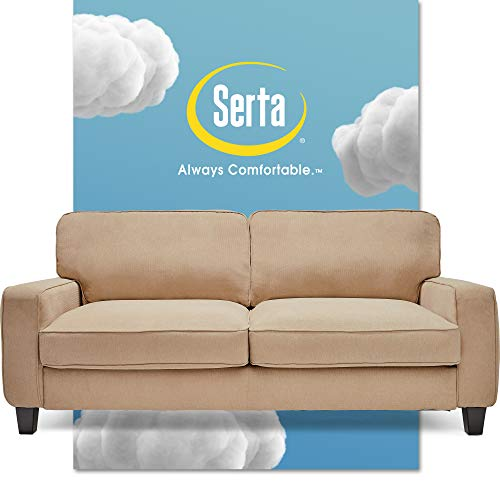 Serta Palisades Upholstered Sofa, Living Room Couch for Small Spaces, Ultra Sturdy Solid Wood Frame, Soft Pet Friendly Fabric, Pillowed Back Cushions, Quick Easy Assembly, 78', Sand