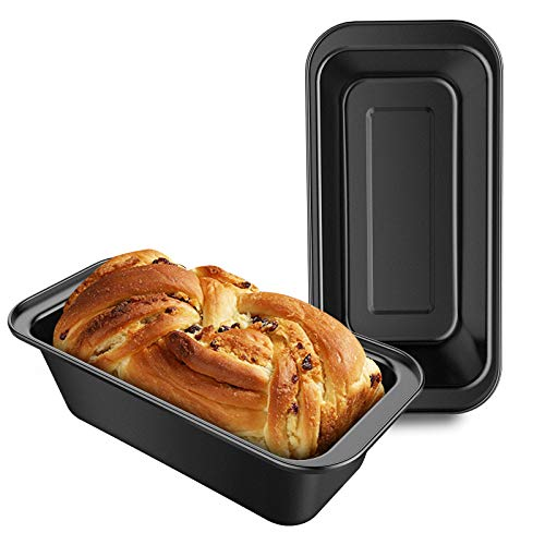 Loaf Pan 8.5 x 4.5 Inch, Beasea Set of 2 Bread Pans for Baking, Nonstick Bread Loaf Pans Loaf Baking Pans, Carbon Steel Loaf Bakeware for Oven Baking - Black