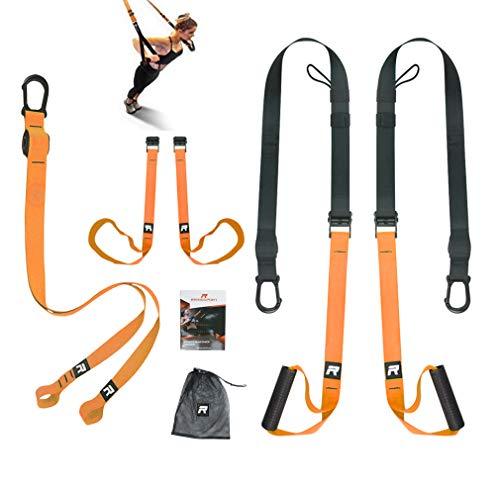 RHINOSPORT Schlingentrainer Sling Trainer Set mit Türanker Einstellbar Fitness Zuhause Suspension - geeignet für unterwegs und für das Training im Innen- und Außenbereich