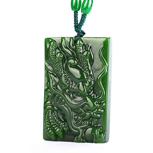 yigedan Halskette mit Anhänger, chinesisch, handgeschnitzt, natürliche Jade, Glücksanhänger, Motiv Drachen, Grün