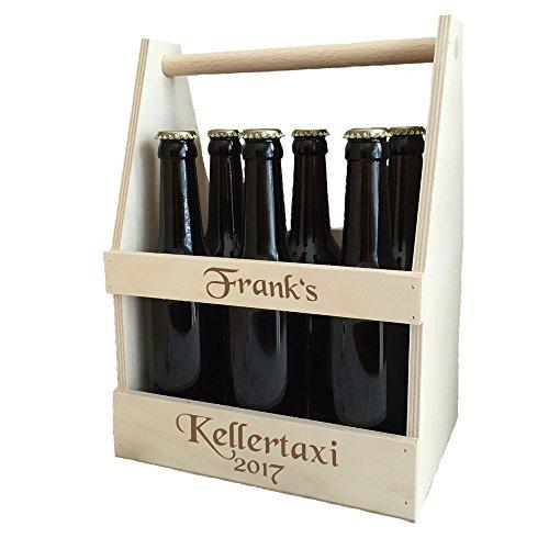 Bierträger mit kostenloser Gravur - individuelle Männerhandtasche aus Holz | passend für 6X 0,33 oder 0,5 Liter Bierflaschen | personalisierter Sixpack als Geburtstagsgeschenk & Biergeschenk