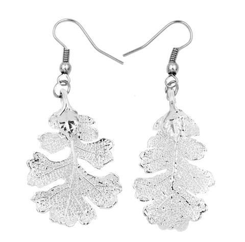 Diseño de hojas de roble Real pendientes de plata y turquesas