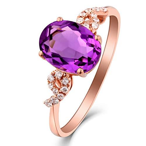 AueDsa Anillos Púrpura Oro Rosa Anillos de Oro Rosa para Mujer 18 Quilates Oval con Número 9 Amatista Púrpura Blanca 1.53ct Anillo Talla 18,5