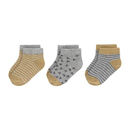 LÄSSIG Baby Kinder Sneaker Socken kurze Socken 3er Set GOTS 100% Bio-Baumwolle/Sneaker Socks curry, Gr. 19-22