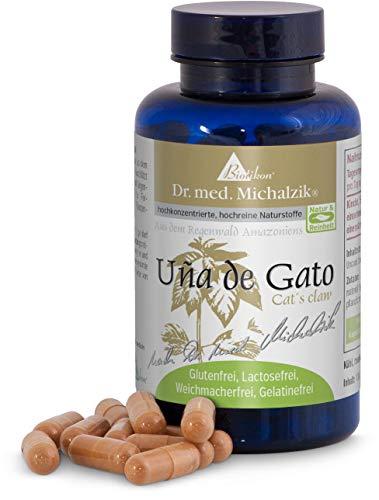 Uña de Gato nach Dr. med. Michalzik, Uncaria tomentosa Wurzelrindenextrakt, Original Cat´s Claw aus dem Regenwald des Amazonas, jede Kapsel enthält 500 mg Uña de Gato-Extrakt - ohne Zusatzstoffe, 100 vegane Kapseln