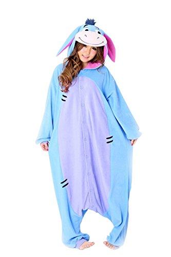 L-email Flanell Blauer Donkey Cartoon Tier einteiligen Pyjamas Sleepsuit Pyjamas Tier Cosplay Kostüme Homeware (M(155-165cm), 11.Blauer Esel JP94)