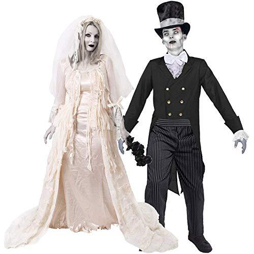 ILOVEFANCYDRESS Novia DESCONSOLADA Fantasma Disfraz DE Vestido DE Novia DE Halloween + Disfraz DE Novio Zombi (Damas: PEQUEÑAS - Hombres: XX-Grandes)