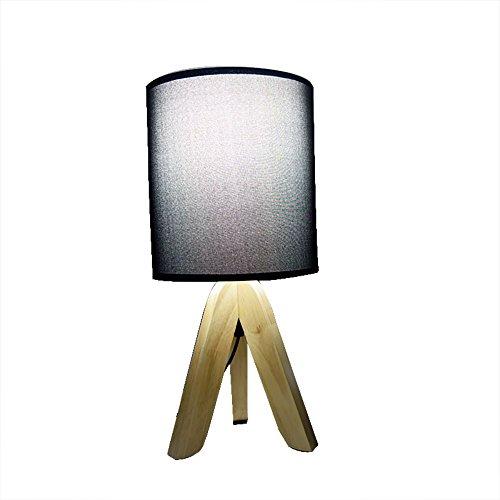 TOYM UK Creative lampe de bureau chambre Nordic simple mode moderne personnalité bois bureau lampe de chevet (Couleur : Noir)