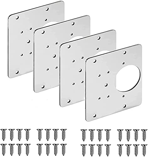 TTYJWDWY Cabinet Hinge Repair Brackets,Stainless Steel Bracket Hinge Repair Plate Kit with Hole,Flat Fixing Brace Brackets with Screws,Easy Mount Concealed,For Wood,Furniture,Shelves,Cabinet (4 pcs)