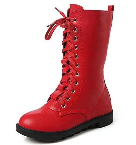 DADAWEN Kid's Girls Leather Lace-Up Zipper Mid Calf Combat Riding Winter Boots (Toddler/Little Kid/Big Kid) Red US Size 3.5 M Big Kid
