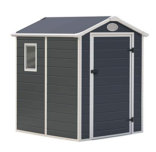 GARDIUN KSP38110 - Caseta de Resina Marena - 2,47 m² Exterior 190x132x203 cm Antracita/Blanco