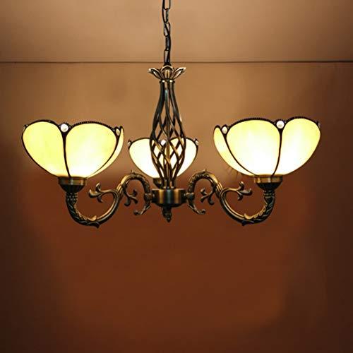 Leuchter Moderner einfacher Art-Leuchter, Tiffany-Art-Buntglas-mehrarmige Deckenleuchte-hängende Leuchte für Esszimmer-Landhaus-Schlafzimmer-Wohnzimmer, E27 Aktualisierung-3Arms