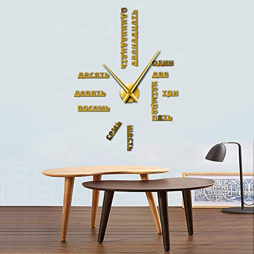 GUDOJK Numéros de Langue Russe sans Cadre Bricolage Grande Horloge Murale Langues étrangères Wall Art Room Decor Temps Horloge Cadeau pour Professeur étranger
