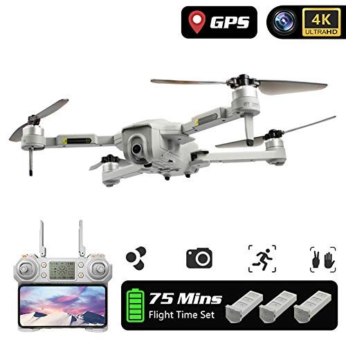 MROSW Dron 4K GPS Drone with WiFi FPV HD Camera Brushless Quadcopter Long Fly Time Folding Quadrocopter with 3 Batteries,4k Drone