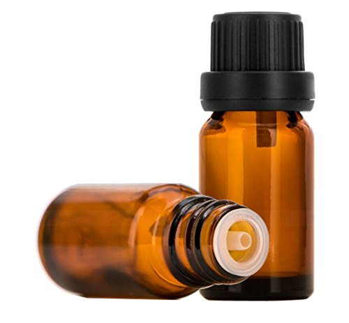 3 x bernsteinfarbene Glasfläschchen für ätherische Öle mit Reduzieröffnung und schwarzem Schraubverschluss für Chemie, Labor, Chemikalien, Parfüm, Kosmetik, Make-up, Behälter, Behälter (5 ml)