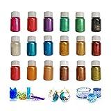 Epoxidharz Farbe ,18 Stück Epoxidharz Farbe Mica Pulver, Epoxidharz Farbe Seifenfarbe Set, Mica...