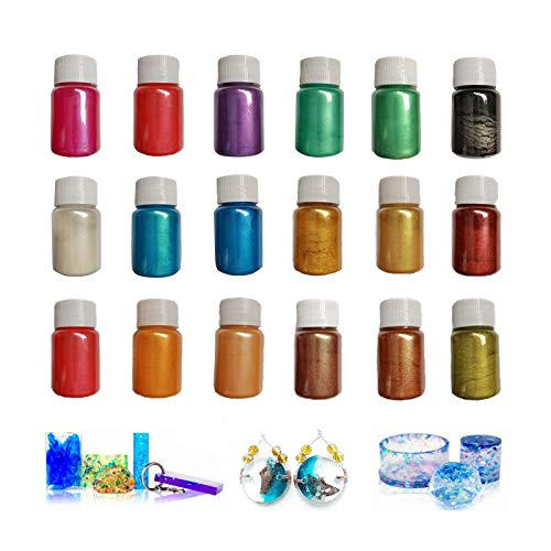 Pigmentos en Polvo, 18 Botes 10g Mica Pigmento, Mica en Polv