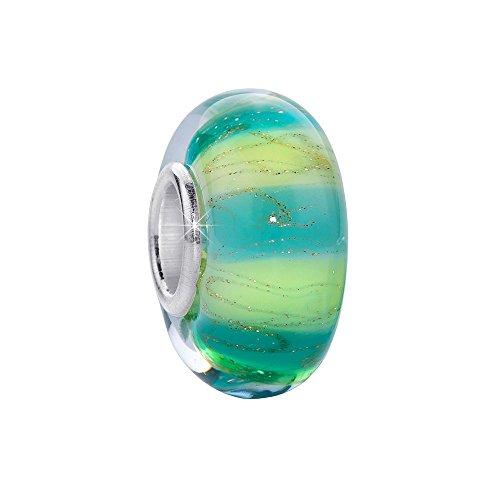 Materia   Charm a forma di perla in vetro di Murano con interno in argento 925   Colore blu con venature   Per braccialetti con charm