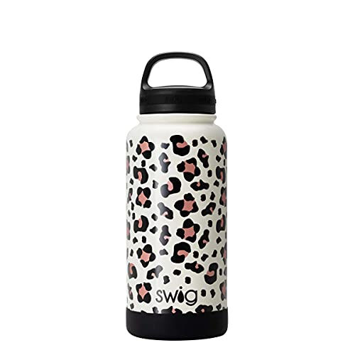 Swig Life 30オンス 30オンス 断熱ステンレススチール 広口ウォーターボトル ハンドル付き 食洗機対応 二重壁 真空密封 再利用可能 魔法瓶 贅沢なヒョウ柄 (複数のパターンをご用意)