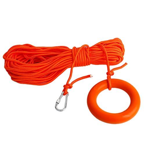 Bayda - Línea de vida flotante en agua, distribución de salvamento, cuerda de sequedad de buceo con gancho y hebilla, accesorios de piscina