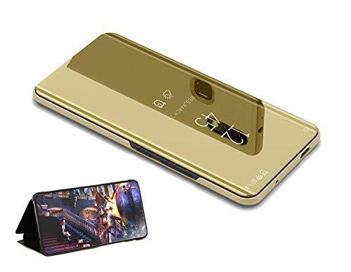 yanzi Funda Compatible Huawei P9 Plus Dorado,Estuche para Case/Translúcido Espejo Standing Cover Slim Fit Anti-Rasguño Mirror Protectora Cubierta,Regalo[ Protector de Pantalla Vidrio Templado]
