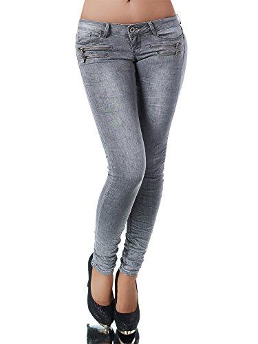 Diva-Jeans L851 Damen Jeans Hose Hüfthose Damenjeans Hüftjeans Röhrenjeans Röhrenhose, Grau, 38