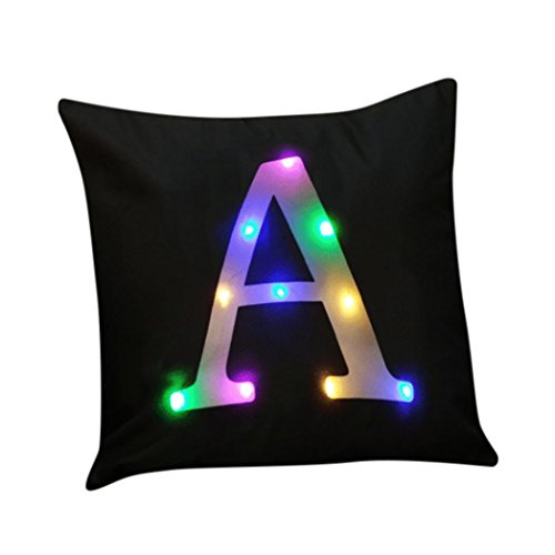 Elogoog Pillow case Christmas, Colorful Lighting LED Pillow Case 26 Letters Printing Flashing Cotton Linen Cushion Cover Home Décor 18 x 18 (18 x 18 Inches, A)