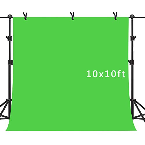 MME Non-Woven Fabric Green Screen Key Green Background for Photography 10x10ft Photo Video Photography Background Studio Chroma Key Screen PURME008