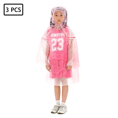 Amazing Deal Lgan 3PCS Rain Poncho Disposable, Child Clear Adult Ponchos with Hood Raincoat for Men Women Emergency Waterproof for Rainy Outdoors (Color : Pink)