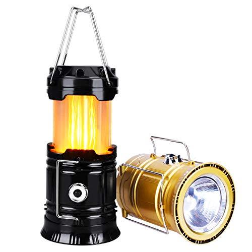 YoungRich 2X Wasserdicht Tragbare LED Campinglampe Ausziehbar Campingleuchte Flamme Effekt Zelten Laterne mit 2 Lichtmodi für Wandern Abenteuer Angeln Garage Stromausfall Schwarz Gold 19.5x9.5cm