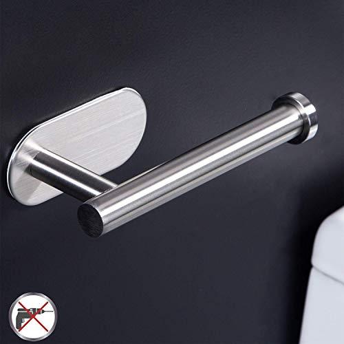 Leyue Soporte de Rollo de Inodoro Autoadhesivo - Soporte de Papel higiénico para baño Stick en Pared de Acero Inoxidable Cepillado