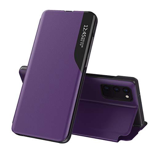 Oihxse Smart View Cover Comaptible con Samsung Galaxy A50/A30S/A50S Funda Flip de Cuero PU con Inteligente Ventana Soporte Plegable Carcasa Antichoques Anti-rasguños Delgado Libro Case,Púrpura