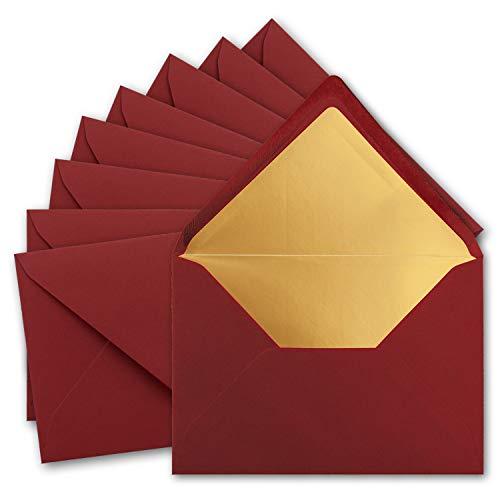 50x metallic Gold-gefütterte Brief-Umschläge DIN C5, dunkel-rot - 156 x 220 mm - Nassklebung mit spitzer Klappe - FarbenFroh by Gustav NEUSER®