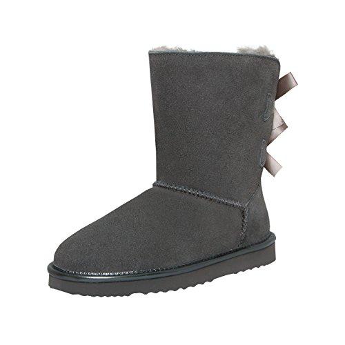 SKUTARI Playful Double Bow Boots, handgefertigte italienische Lederstiefel für Damen mit gemütlichem Kunstfellfutter, Rutschfester und Gepolsterter Sohle, Grau-Limited, 40 EU