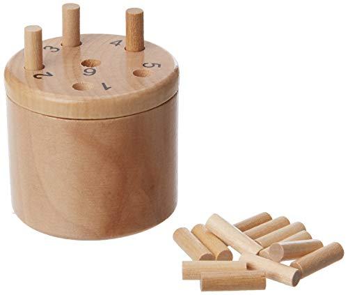 Philos 6337 - Würfelfass, klein, Reisespiel, Würfelspiel aus Birkenholz, Super Six, sechs raus, mit Würfel und Spielstäbchen