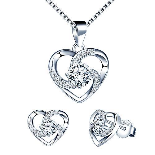 Beforya Paris - Infinity - Corazón infinito - Maravilloso juego de joyas de plata 925 para mujer con cristales de Swarovski Elements - Juego de joyas con caja de regalo