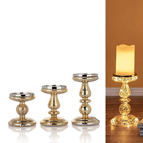 3er Set Kerzenständer für Stumpenkerzen mit LED Beleuchtung (Lichterkette) und Timer - Kerzenhalter aus Glas (Gold)