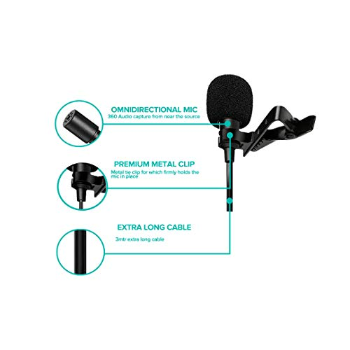 Xtreme Acoustics Lavalier Clip-on Microphone with 3mtr Cable Length (iOS Devices) for Vloggers/Online Tutors/Journalists/Work from Home