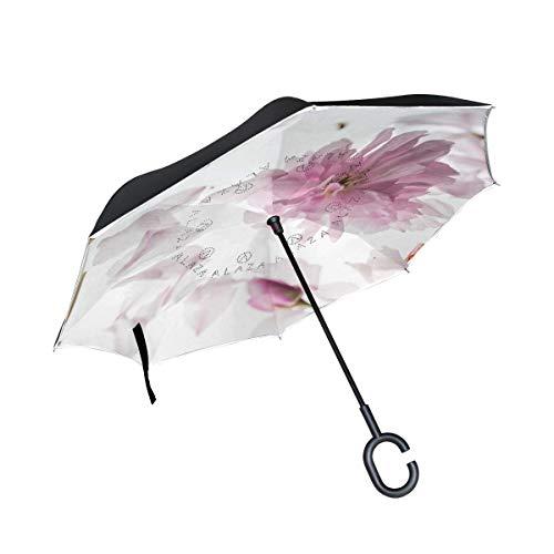 Rode bloem bladeren planten omgekeerde paraplu dubbellaags omgekeerde paraplu met C-vormige greep UV-bescherming winddicht voor auto in de open lucht